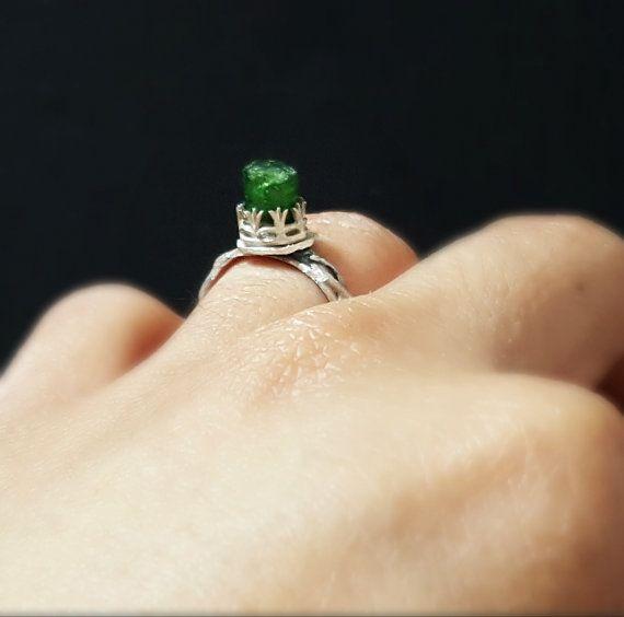 Green Tourmaline RingTourmaline RingRaw Stone by CharmingAmbrosia