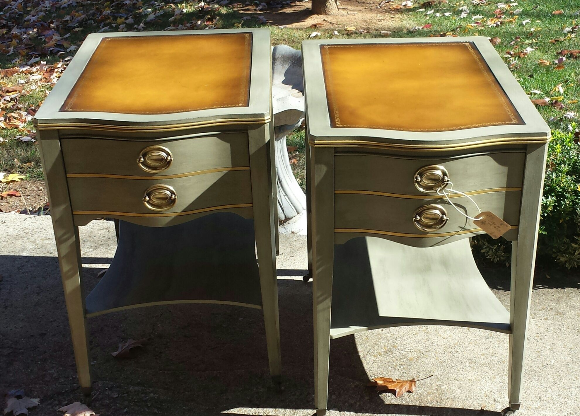 Leather Top Tables Finished With Home Made Chalk Paint, Waxed, And Buffed.