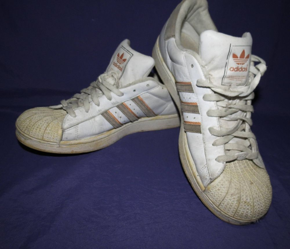 Men's Vintage Adidas Shelltop Superstar Athletic Basketball Shoes White  Size 12