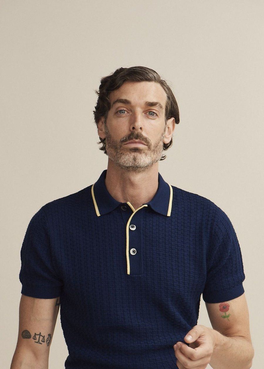 088c13d35 King + Tuckfield | 50's Inspired Textured Polo (Navy, Citron ...