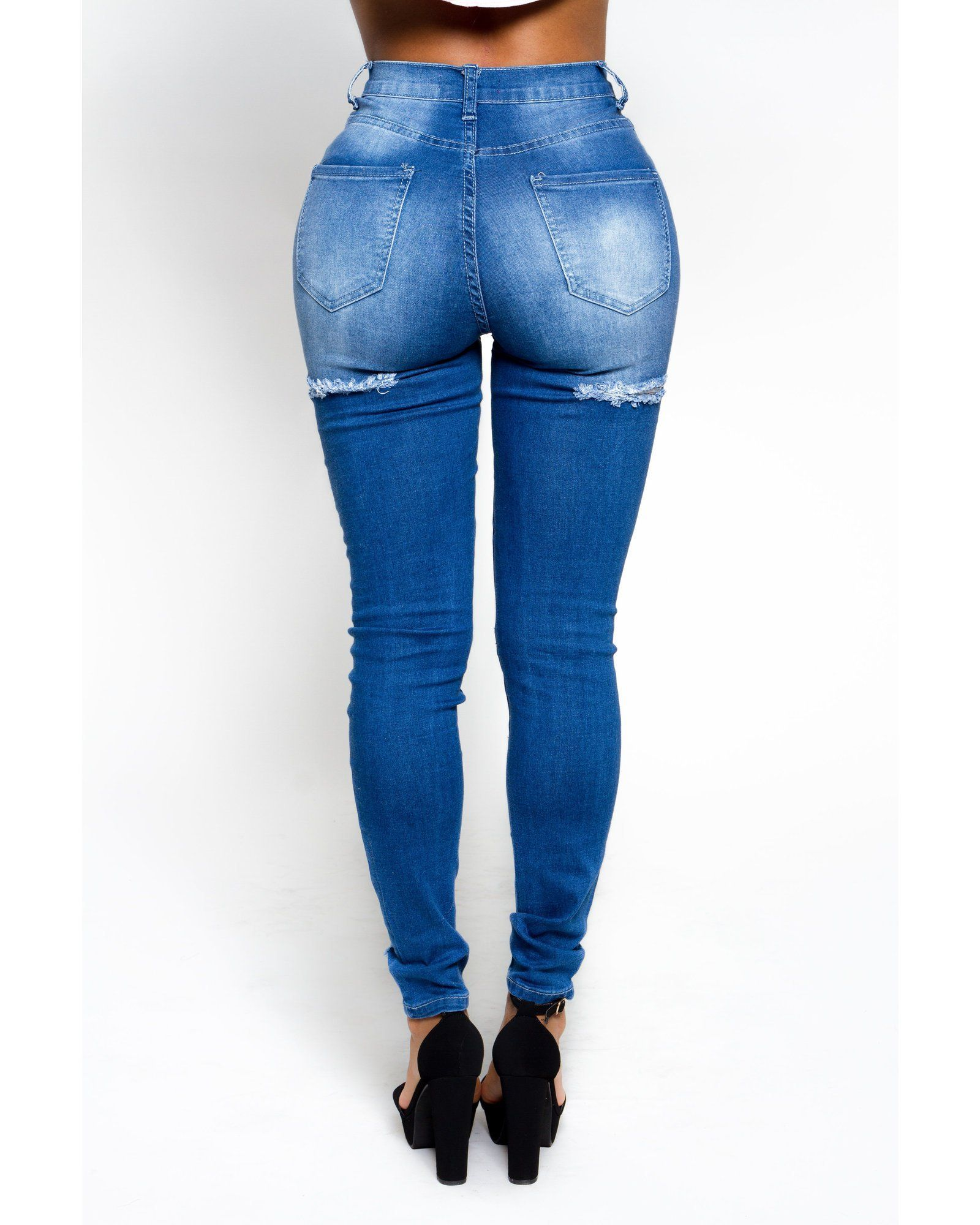 14fcc2755b Stay ahead of the trend in these super cool ripped jeans - Skinny fit  through hips and thighs - Shredded rips throughout front - Bum rip detail -  Five ...