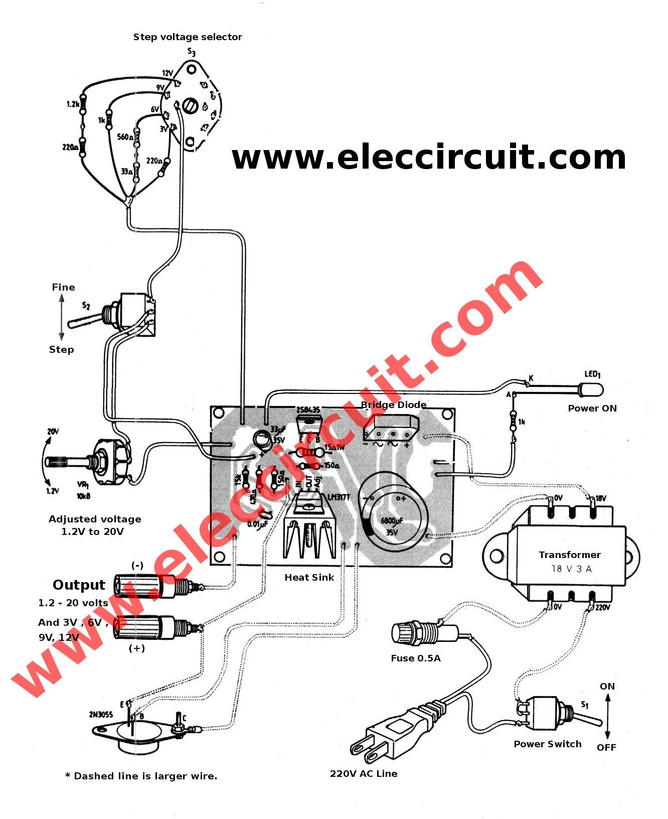 hight resolution of we recommend the lm317 adjustable voltage regulator circuit it use normally component lm317 popular dc voltage regulator and 2n3055 transistor to boost up