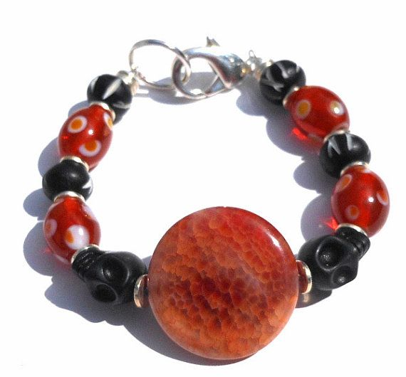Orange and Black Halloween Bracelet Handmade with by GodivaJewels, $8.95