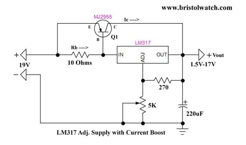 Lm317 Current Boost Circuit Electrical Circuit Diagram Electronics Circuit Circuit Diagram
