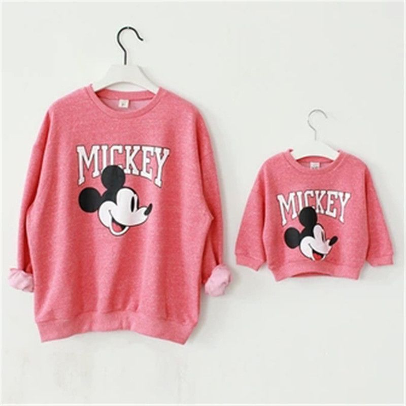 11bbc1431055 Family Matching Outfits Set Mother and Daughter Clothes Baby and Mom Mickey  Shirt Christmas Sweaters Minnie Mouse Dress Hoodies