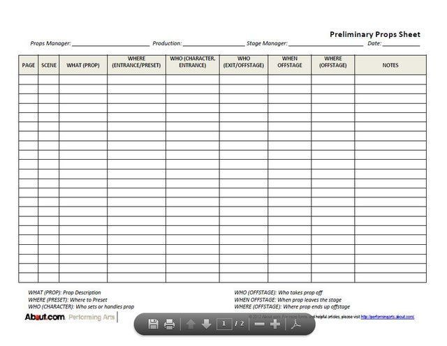 Pin by joe maniglia on theatre in 2018 pinterest stage this preliminary props sheet is a great way for props masters and set designers to note initial props needs for the production as where as how theyll be maxwellsz
