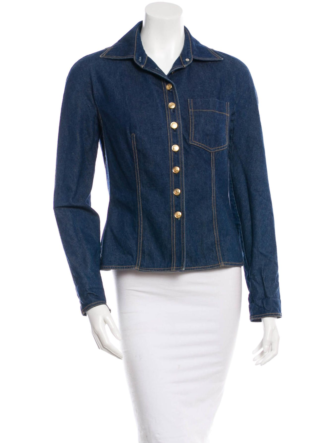 Blue Denim Christian Dior Jacket With Wing Collar Single Patch Pocket At Bust Long Sleeve Denim Jacket Jackets Denim [ 1784 x 1352 Pixel ]