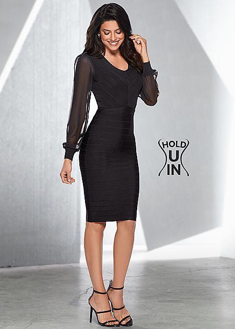 Sheer sleeve slimming dress
