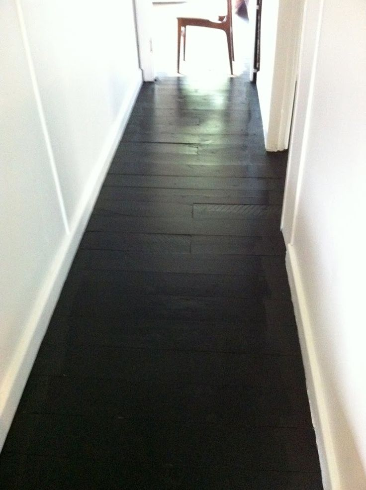 I Love These Black Wood Floors I Could Find Some Cheap Flooring Sand It And Stain It Matte Black Black Wood Floors Painted Wood Floors Painted Hardwood Floors