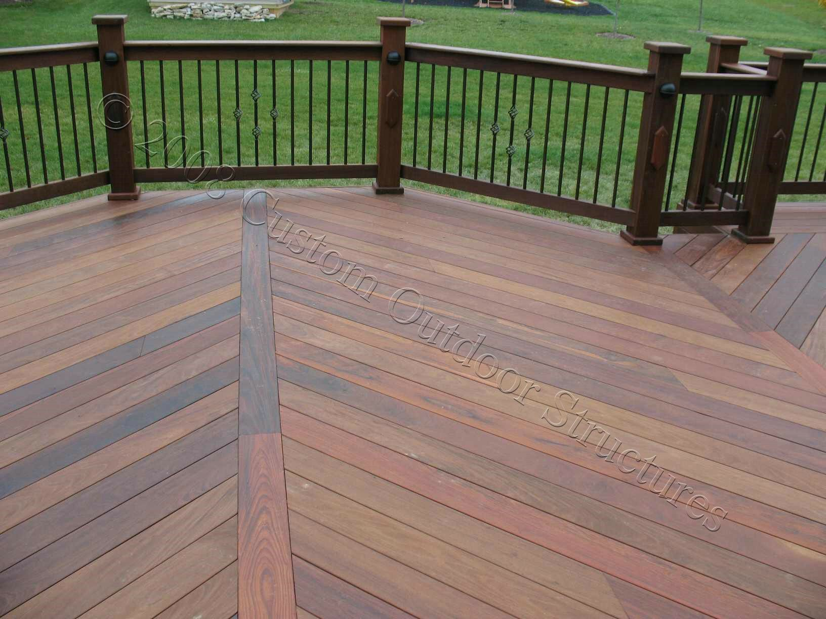 Custom made decks using cedar composite materials for Outdoor composite decking
