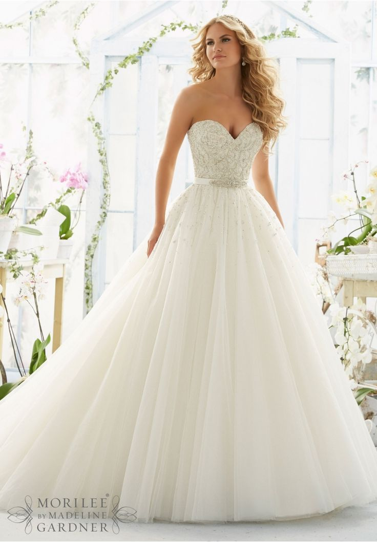 Mori Lee #2802: pearl and diamante beading ball gown with flowing ...