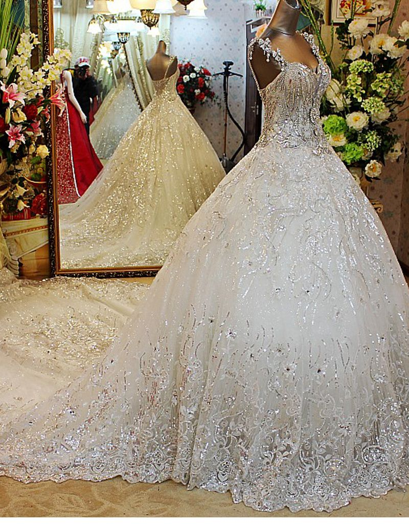 63e7fa3711 2015 Bling Crystal Beadeds Luxury Wedding Dress Ball Gown Long Tail ...