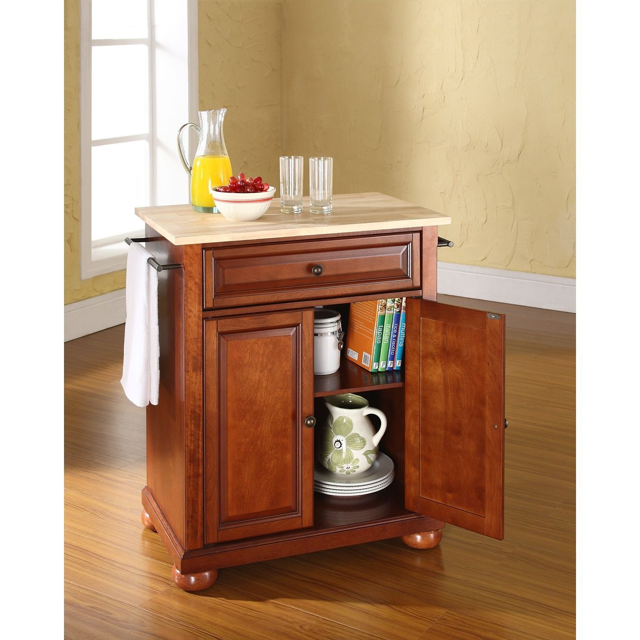 Crosley Furniture Alexandria Wood Top Kitchen Island In: Alexandria Natural Wood Top Portable Kitchen Island In