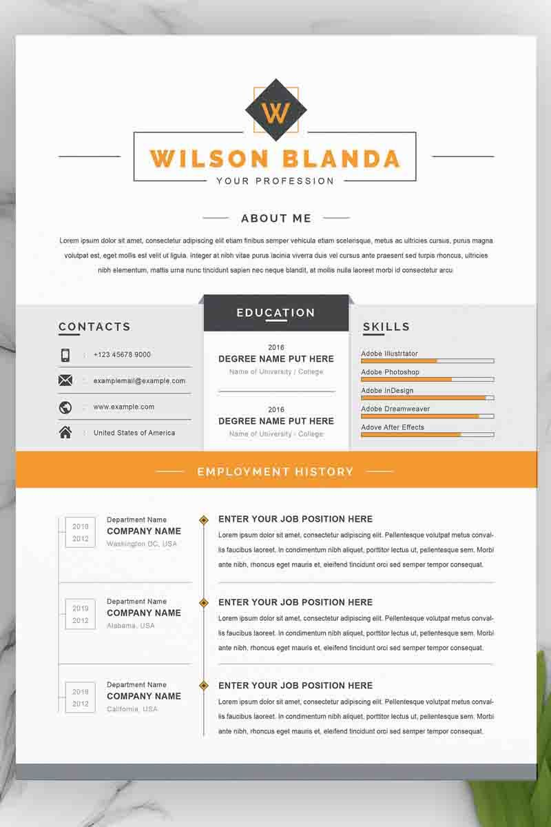 Wilson Resume Template 97988 in 2020 Resume template