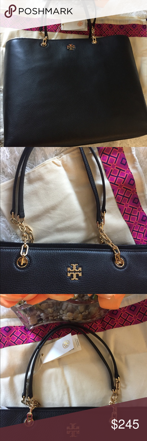 9f69bc38b75 🆕🎱TORY BURCH TOTE🎱 The Frida Tote in black pebbled soft luxurious leather