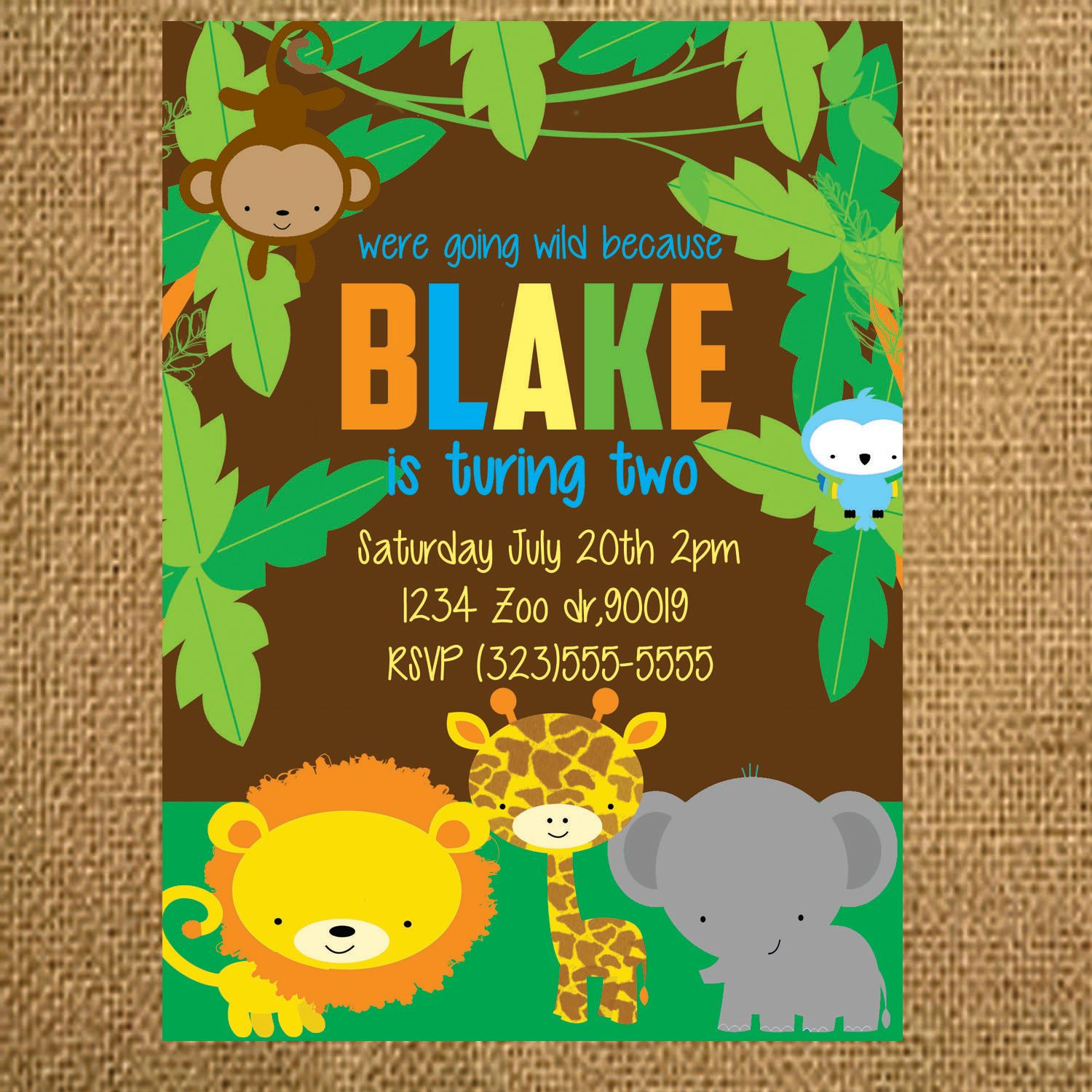 Jungle Safari Birthday Invitation By Thepartyfairydesigns On Etsy