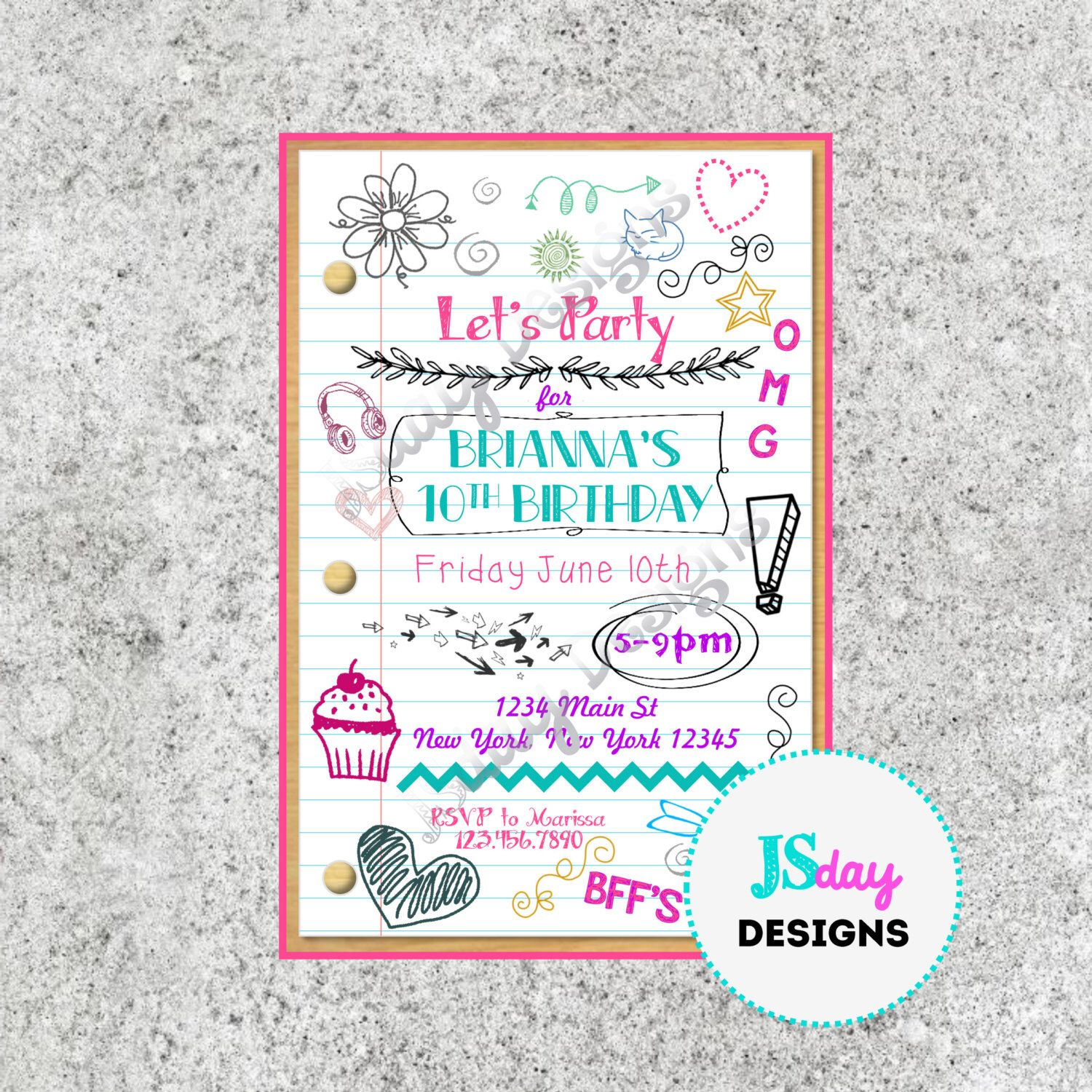 Tween Teen Birthday Invitation; Tween Birthday; Teen Birthday ...