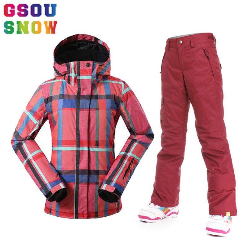 Gsou Snow Women Ski Jacket Pants Windproof Waterproof Snowboard Suits Women  Super Warm Winter Bright Colorful 077dc1508