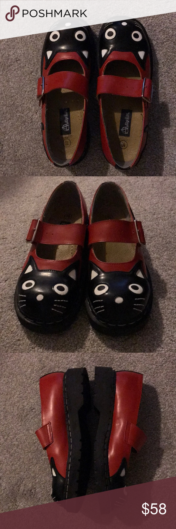 Anarchic Leather Cat Shoes New Red Black Maryjane Cat Shoes Black And Red Leather Mary Janes