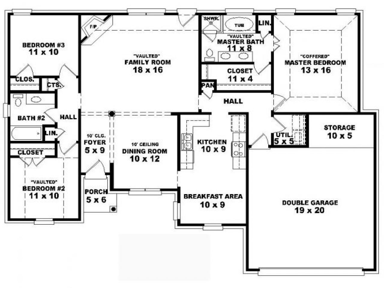 one story house plans 4 bedrooms One storey house, 4