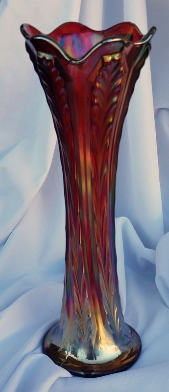 Vintage Fenton Red Carnival Glass Plume Panels Vase 11 Tall Pre