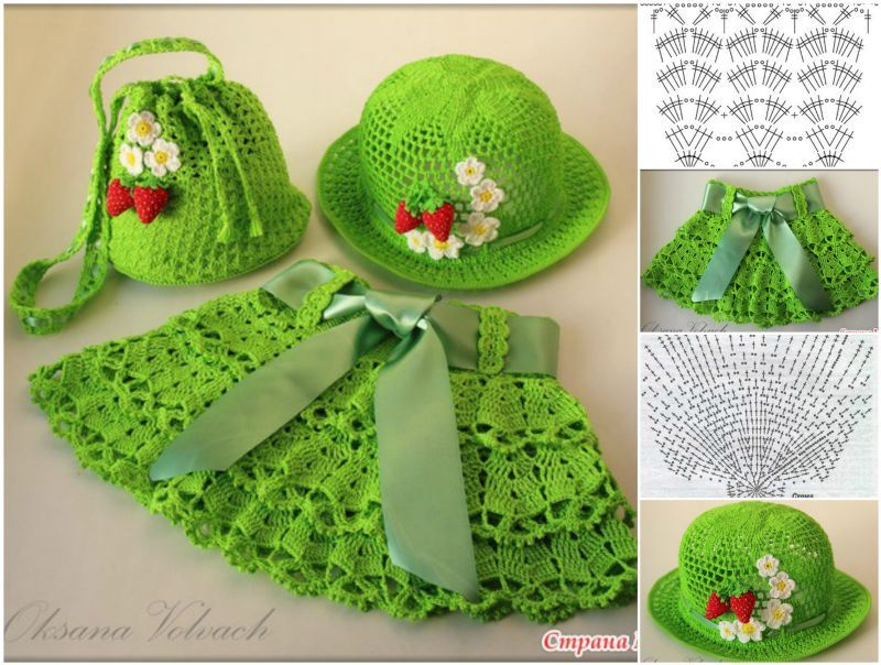 Cutest Crochet Skirt, Hat and Bag Set for Little Girls ...