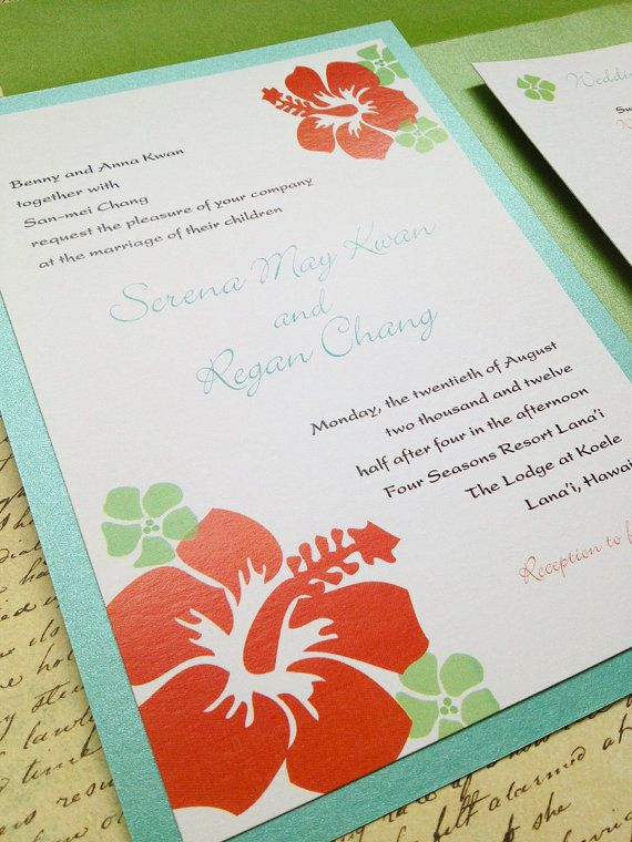 Hibiscus Wedding Invitation hawaiian flowers by papercakedesigns