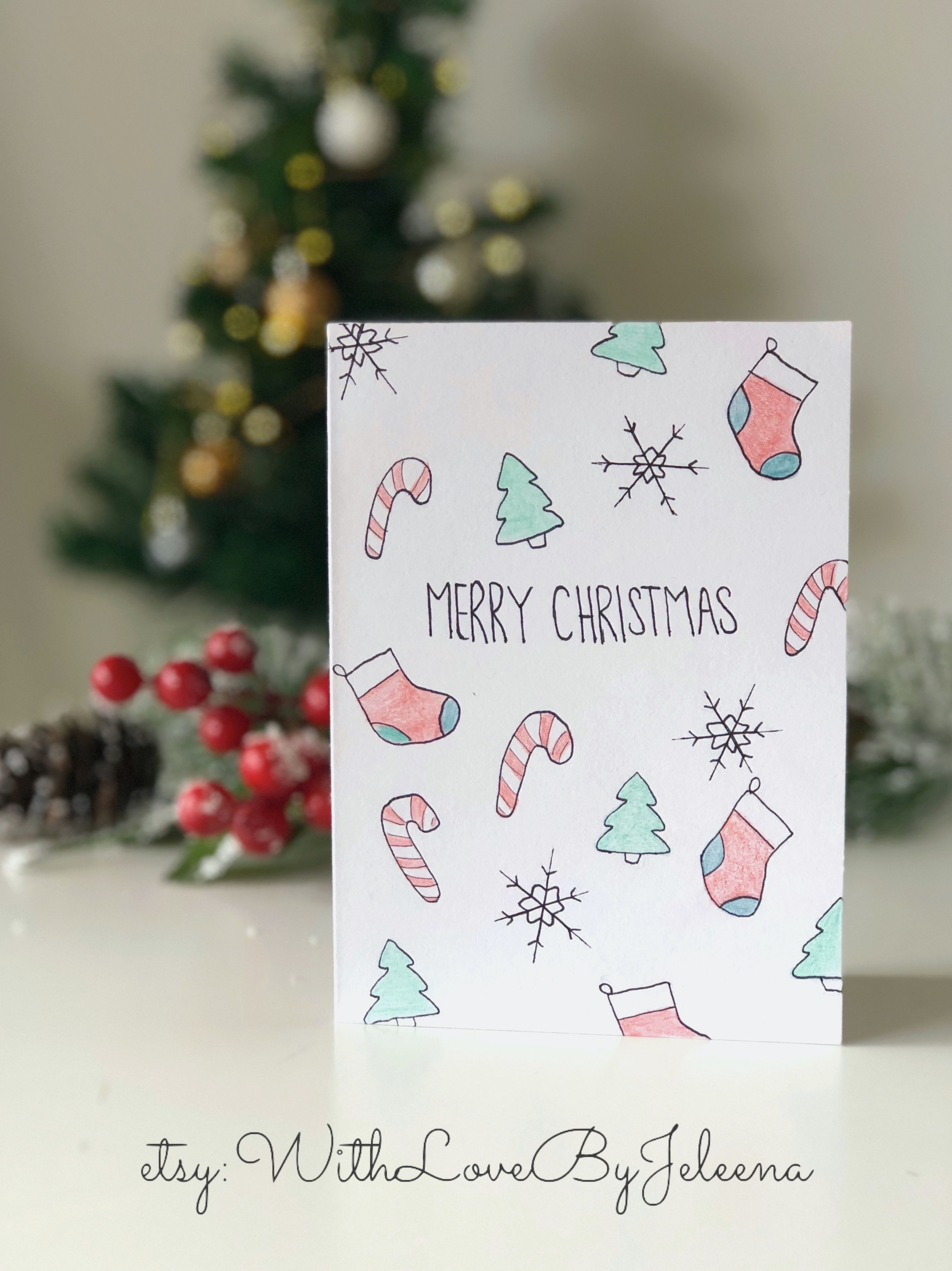 Handmade Christmas cards with Christmas prints. You can purchase ...