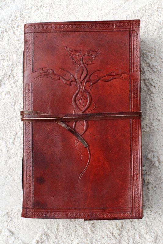 Handmade Leather Journal Diary Notebook - DRAGON EMBOSS ...