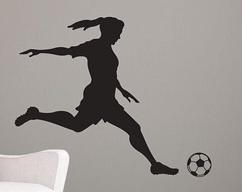 Girl Soccer Player Kicking Silhouette Sports - Wall Decal Custom ...