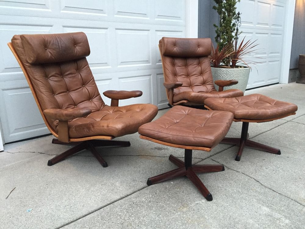 Vintage Gote Mobler Leather Reclining Chair w/ Ottoman Made In Sweden RARE! - Vintage Gote Mobler Leather Reclining Chair W/ Ottoman Made In