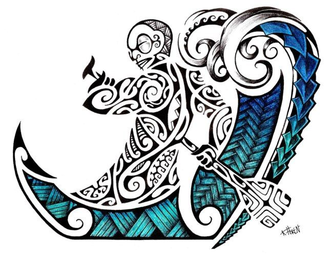 Maori Tattoo Design in Colour of a Polynesian Tiki rowing into Maori Waves by Ta'a Tiki Tattoo Marseilles