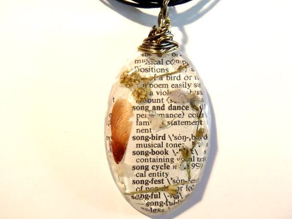 Flower Maple Seed Book Page Wire Wrapped Resin by PrismGypsy, $18.00