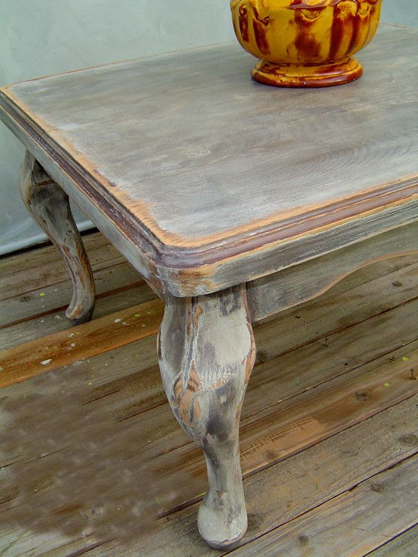 Grey Side Table Vintage French Rustic