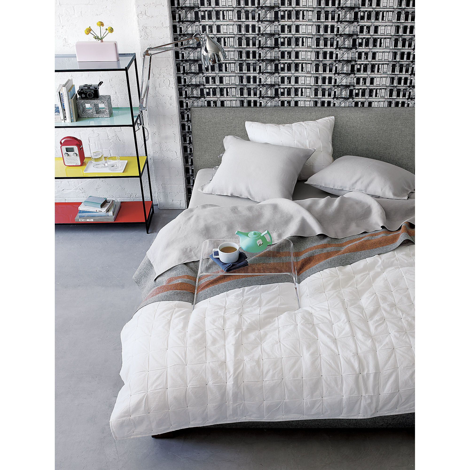 6d8cffc0bf4b Façade Grey Bed | bedroom | Grey upholstered bed, Bed tray, Bed ...