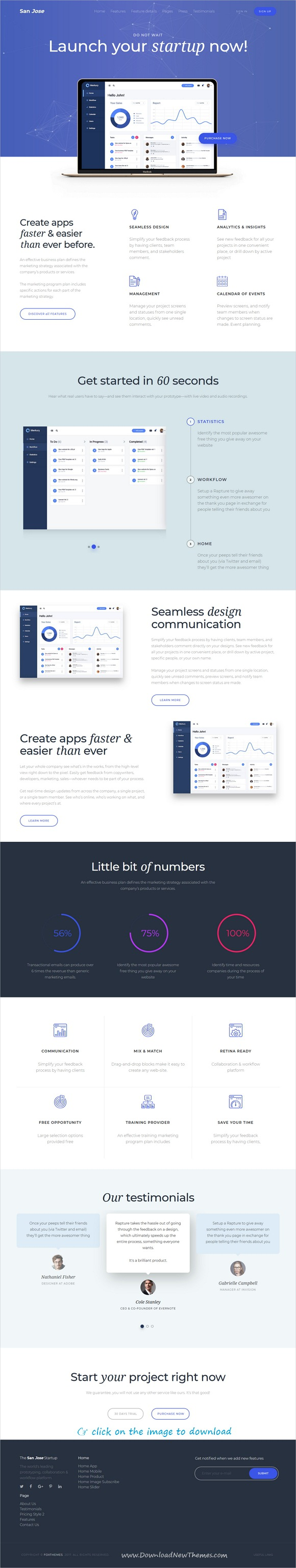San Jose Is Clean And Modern Design Responsive Wordpress Theme For Startup App Software And Saas Pro Landing Page Wordpress Theme Responsive Homepage Layout