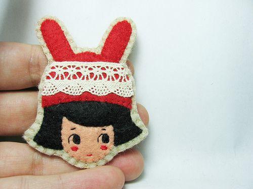 Lace red rabbit girl felt brooch