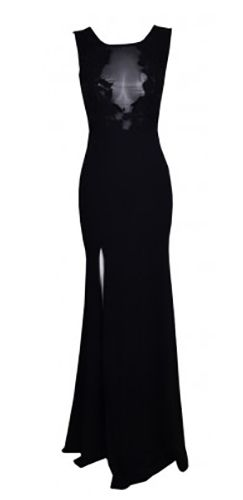 Black Sheer Mesh Lace Sleeveless Scoop Neck Plunge V Cut Out Back Thigh Slit Bodycon Maxi Dress Gown