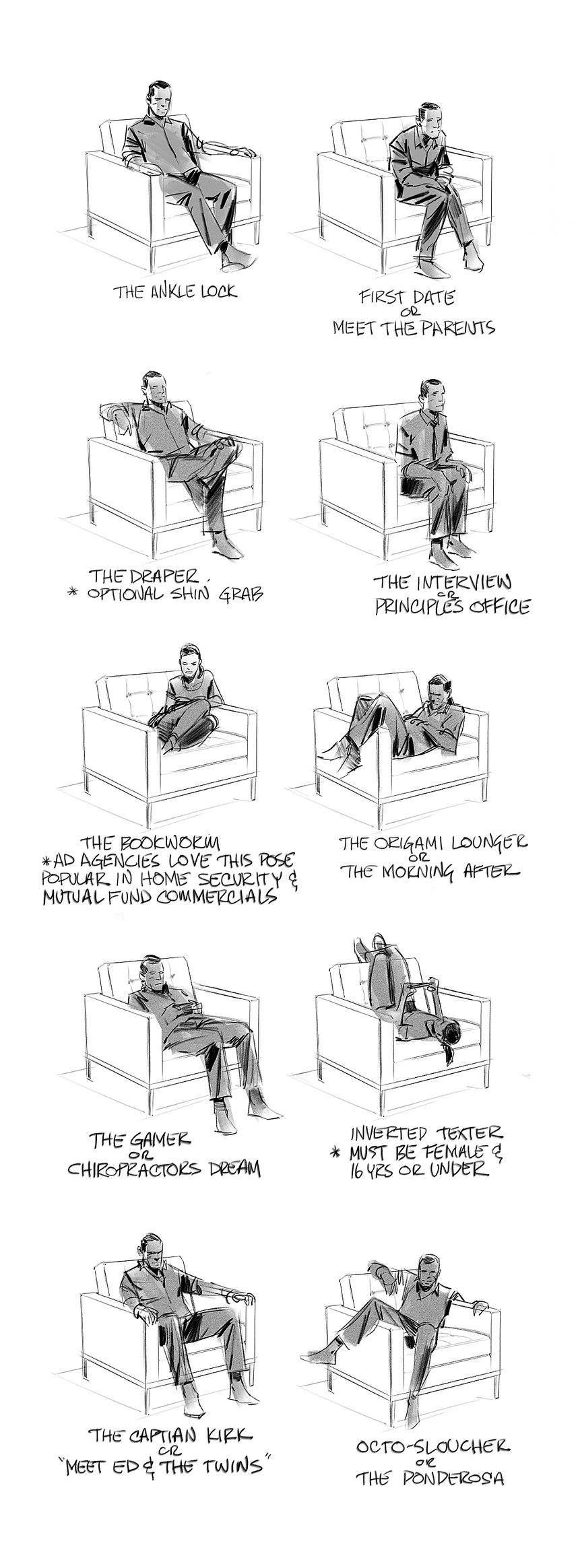 Maneras de sentarse   tas   Pinterest   Anatomía, Dibujo y Dibujar