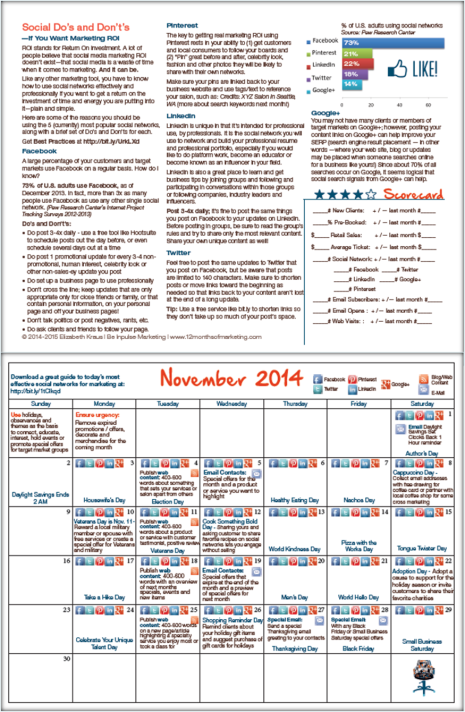 Download Sample Salon Marketing Calendar Pages From The  Salon