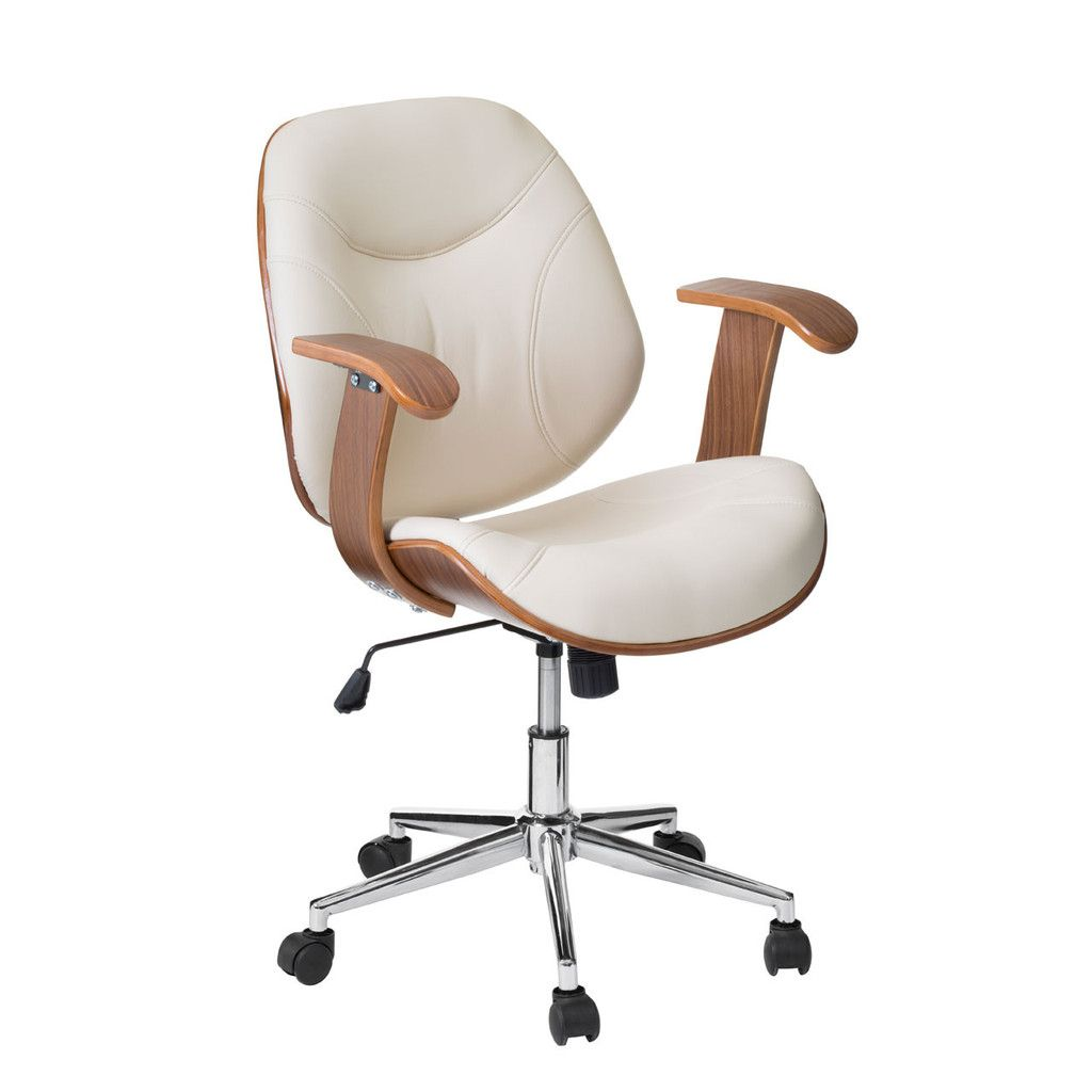 Office Chair with Arms, Bentwood / Cream Leather Effect