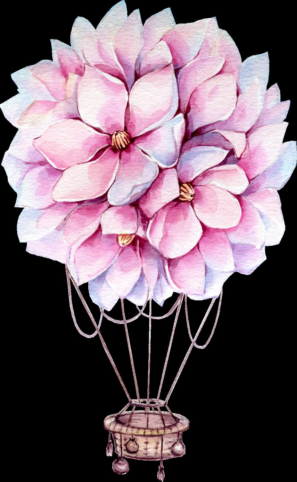 hot air baloon.png | Цветочные иллюстрации, Художественная ...