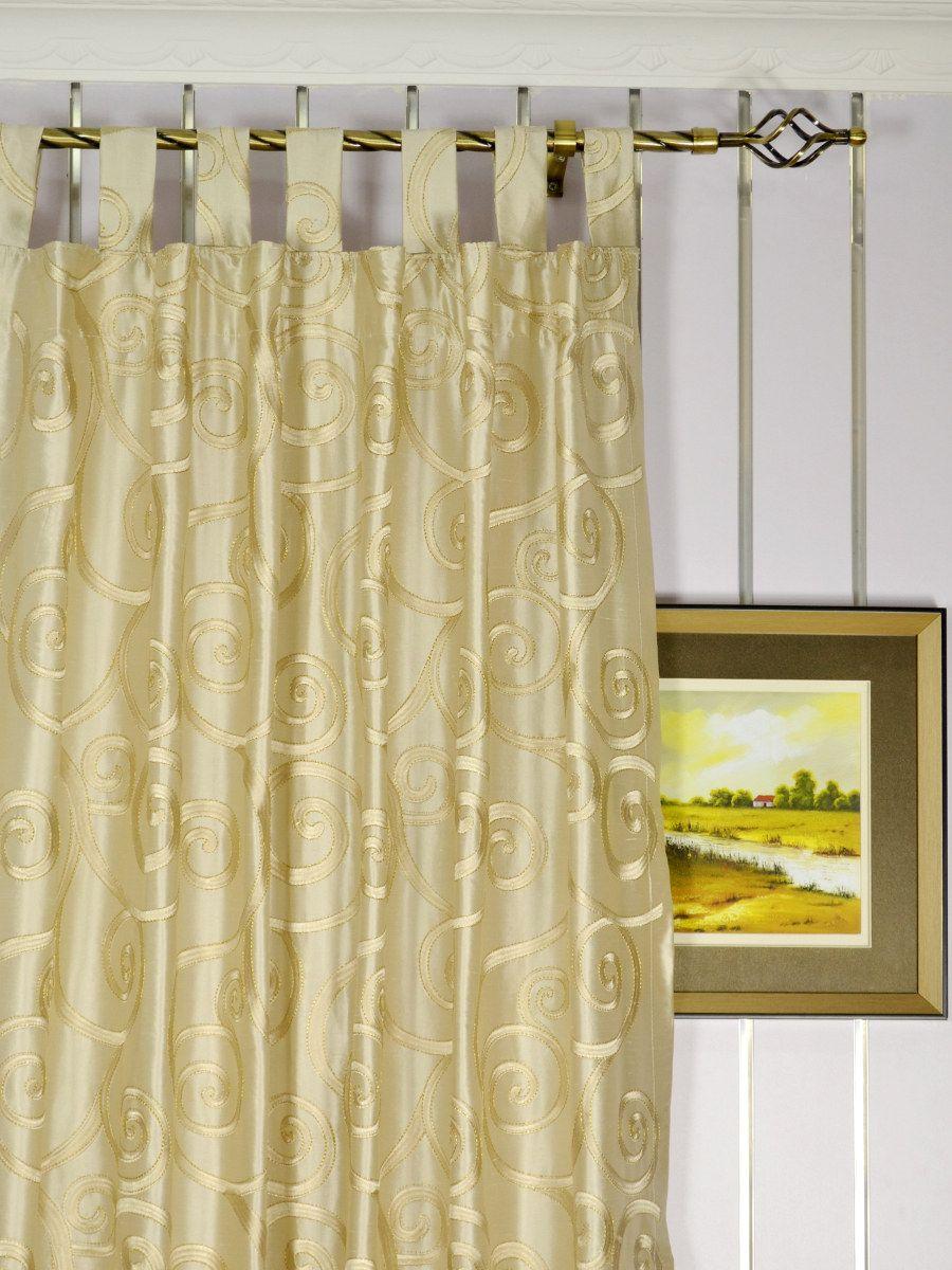 Beige Scroll Embroidered Silk Curtain Panels Silk Curtains