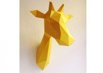 trophée tete girafe origami diy assembli les esthetes animal deco - cree ma maison en 3d gratuitement