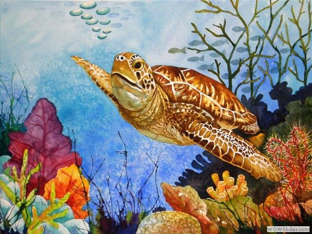Turtle Sea Turtle Watercolor Turtle Watercolor Turtle Painting