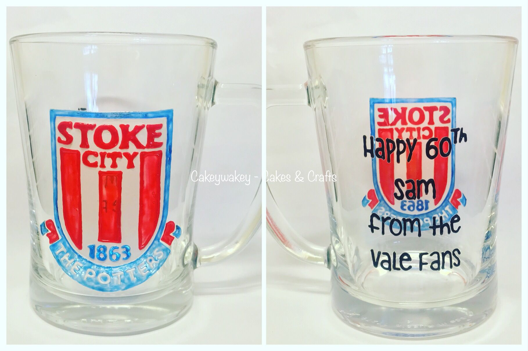 Stoke City Personalised Hand Painted Beer Pint Glass