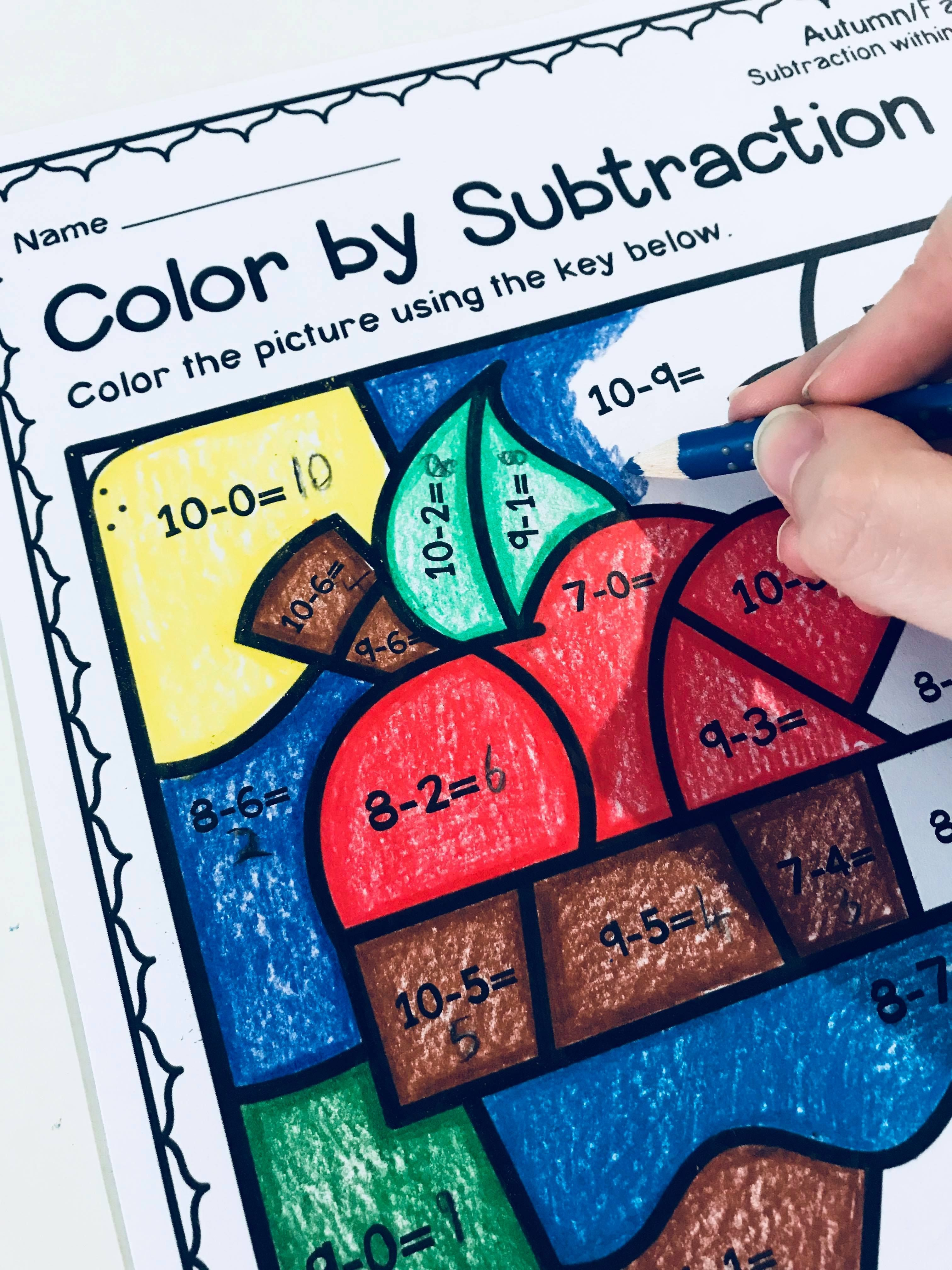 Autumn Fall Color By Subtraction Worksheets
