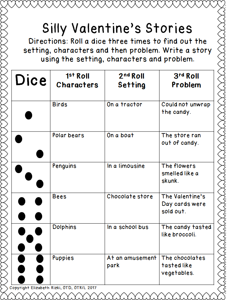 valentine's day roll a dice silly sentences and stories k12345, Ideas