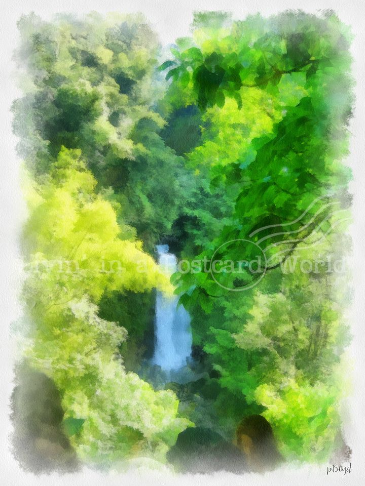 Waterfall Watercolor Filter Cityscape Waterfall Watercolor