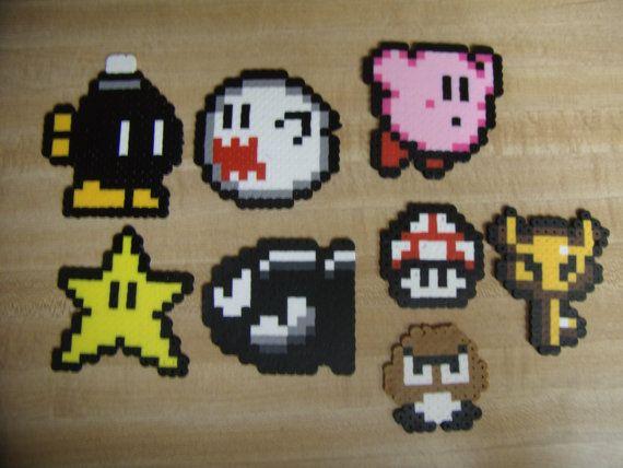 8 Bit Video Game Characters 5 00 Via Etsy Perler Patterns Bead Sprite Pixel Art